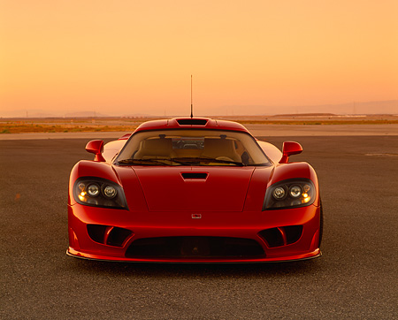 AUT 38 RK0201 02 © Kimball Stock 2003 Saleen S7 Red Head On Shot On Pavement Filtered