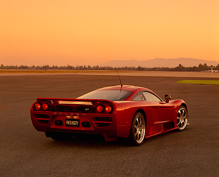 AUT 38 RK0208 01 © Kimball Stock 2003 Saleen S7 Red 3/4 Rear View On Pavement Filtered
