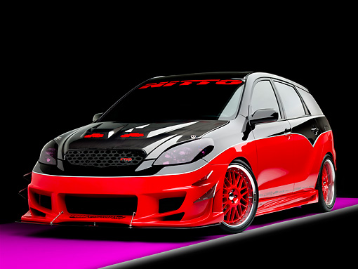 AUT 38 RK1899 01 © Kimball Stock 2003 Toyota Matrix Tuner Black And Red 3/4 Front View Studio