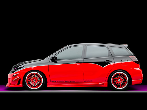 AUT 38 RK1901 01 © Kimball Stock 2003 Toyota Matrix Tuner Black And Red Profile View Studio