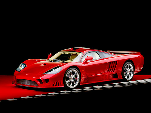 AUT 39 RK0074 06 © Kimball Stock 2004 Saleen S7 Red 3/4 Front View On Red Floor Checkered Line Studio
