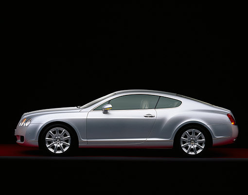 AUT 39 RK0124 07 © Kimball Stock 2004 Bentley Continental GT Silver Side View On Gray Line Red Floor Studio