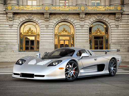 AUT 39 RK0417 01 © Kimball Stock 2004 Mosler MT900S Silver 3/4 Front View By Building