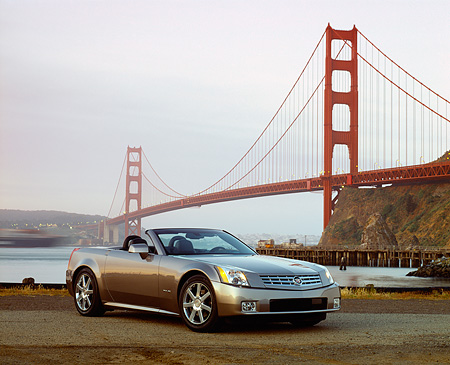 AUT 39 RK0006 05 © Kimball Stock 2004 Cadillac XLR Convertible Shale Metallic Front 3/4 By SF Bridge Filtered