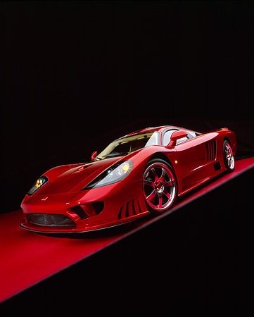 AUT 39 RK0080 18 © Kimball Stock 2004 Saleen S7 Red Wide Angle Shot 3/4 Front View On Red Floor Studio
