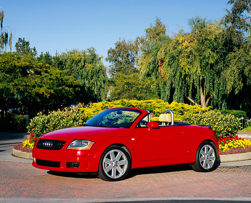 AUT 39 RK0244 02 © Kimball Stock 2004 Audi TT Roadster quattro Red 3/4 Front View On Pavement By Flowers And Trees