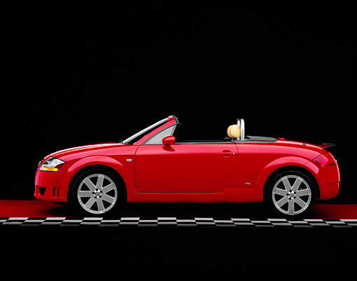 AUT 39 RK0274 02 © Kimball Stock 2004 Audi TT Roadster quattro Red Profile View On Checkered Line Studio