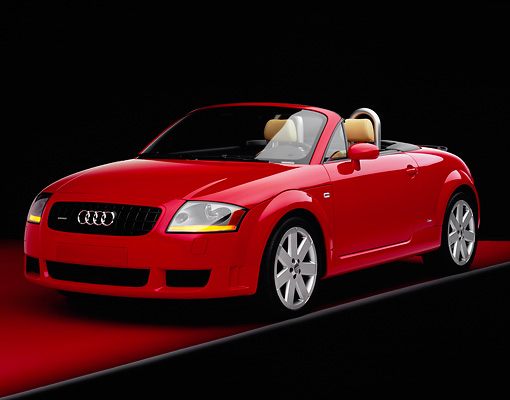 AUT 39 RK0276 05 © Kimball Stock 2004 Audi TT Roadster quattro Red 3/4 Front View Studio