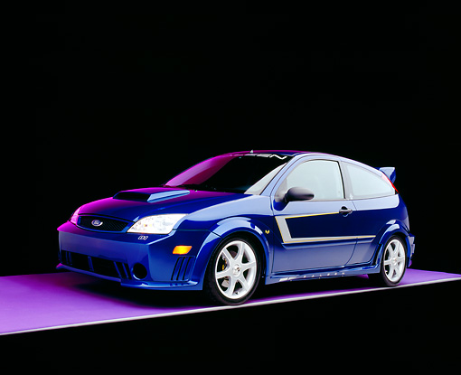 AUT 39 RK0330 15 © Kimball Stock 2004 Ford Saleen N20 Focus Blue 3/4 Front View On Gray Line Purple Floor And Lighting Studio