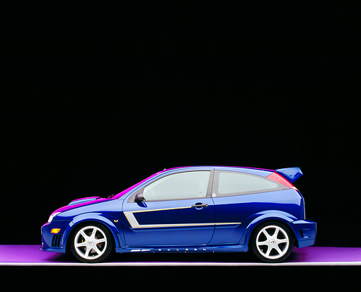 AUT 39 RK0333 05 © Kimball Stock 2004 Ford Saleen N20 Focus Blue Profile View On Gray Line Purple Floor And Lighting Studio