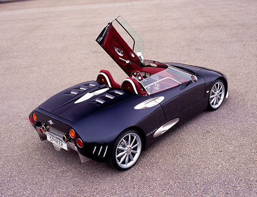 AUT 40 RK0070 01 © Kimball Stock 2005 Spyker C8 Spyder Black Overhead 3/4 Rear View Door Open On Pavement