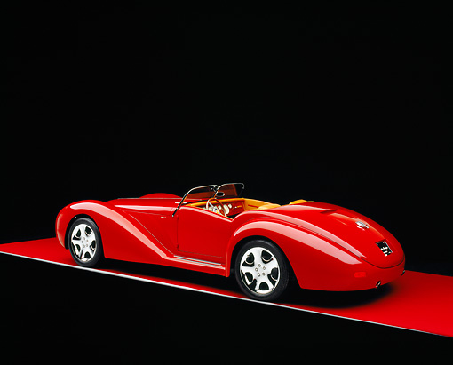 AUT 40 RK0086 01 © Kimball Stock 2005 Apollo Monza Spyder Red 3/4 Rear View On Red Floor Gray Line Studio