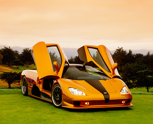 AUT 40 RK0218 06 © Kimball Stock 2005 SSC Ultimate Aero Gold And Black 3/4 Front View On Grass Doors Up