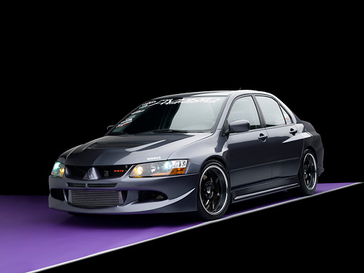 AUT 40 RK0260 01 © Kimball Stock 2005 Mitsubishi Evolution VIII MR Edition Gray 3/4 Front View Studio