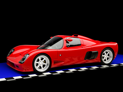 AUT 40 RK0282 01 © Kimball Stock 2005 Ultima GTR Red 3/4 Front View On Blue Floor Checkered Studio