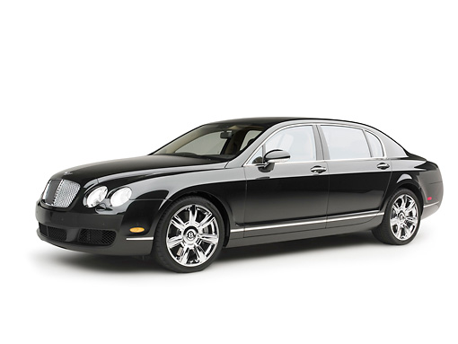 AUT 41 RK0400 01 © Kimball Stock 2006 Bentley Continental Flying Spur Black 3/4 Side View On Seamless Studio