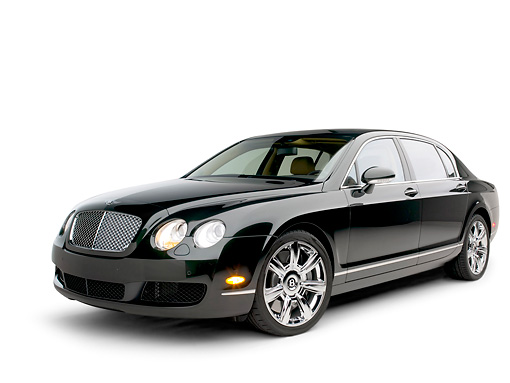 AUT 41 RK0401 01 © Kimball Stock 2006 Bentley Continental Flying Spur Black 3/4 Side View On Seamless Studio