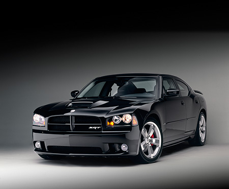 AUT 41 RK0106 02 © Kimball Stock 2006 Dodge, Charger SRT8, Black 3/4 Front View On White Seamless Studio
