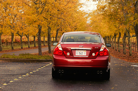 AUT 41 RK0197 01 © Kimball Stock 2006 Infiniti M45 Red Rear View On Pavement On Road By Row Of Trees