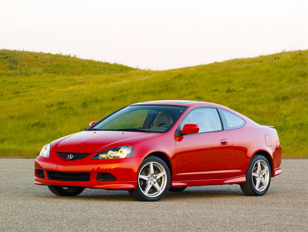 AUT 41 RK0325 01 © Kimball Stock 2006 Acura RSX Type S Red Side 3/4 View On Pavement By Grass Hills