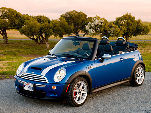 AUT 41 RK0359 01 © Kimball Stock 2006 Mini Cooper S Convertible Blue JCW Tuning Front 3/4 View On Pavement