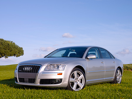 AUT 41 RK0381 01 © Kimball Stock 2006 Audi A8 Quattro AT6 Silver Low 3/4 Front View On Grass