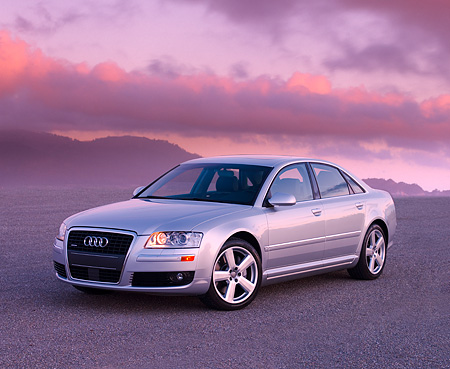 AUT 41 RK0397 01 © Kimball Stock 2006 Audi A8 Quattro AT6 Silver 3/4 Front View On Pavement