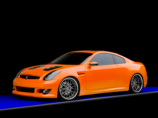 AUT 41 RK0556 01 © Kimball Stock 2006 Infiniti G35 Coupe Custom Orange 3/4 Front View Studio