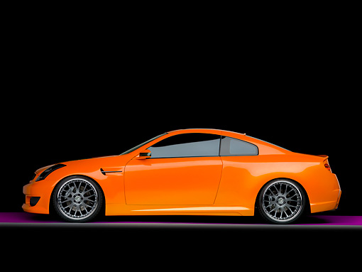 AUT 41 RK0558 02 © Kimball Stock 2006 Infiniti G35 Coupe Custom Orange Profile View Studio