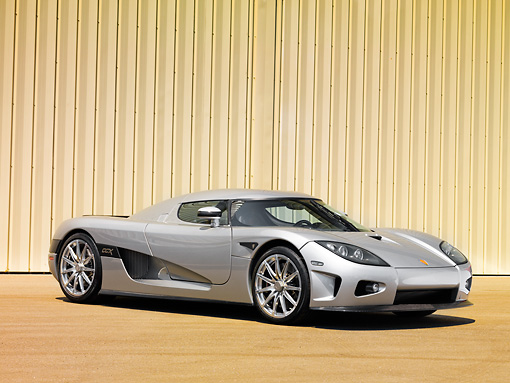 AUT 41 RK0577 01 © Kimball Stock 2006 Koenigsegg CCX Roadster Silver 3/4 Front View In Studio