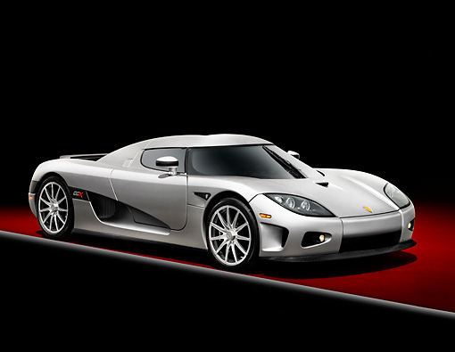 AUT 41 RK0583 01 © Kimball Stock 2006 Koenigsegg CCX Roadster Silver 3/4 Front View Studio