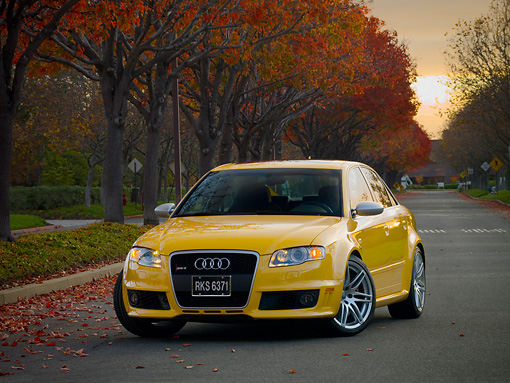AUT 42 RK0113 01 © Kimball Stock 2007 Audi RS4 Yellow 3/4 Front View On Pavement By Fall Trees
