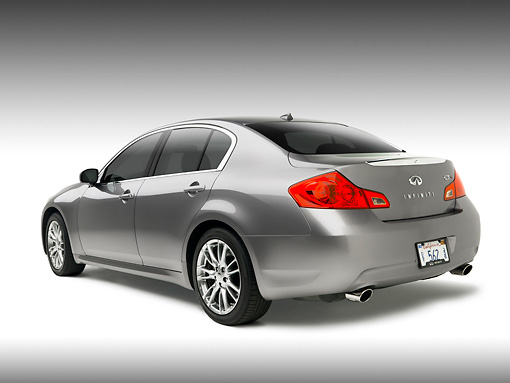AUT 42 RK0143 01 © Kimball Stock 2007 Infiniti G35 Sport 6MT Gray 3/4 Rear View On   White Seamless Studio