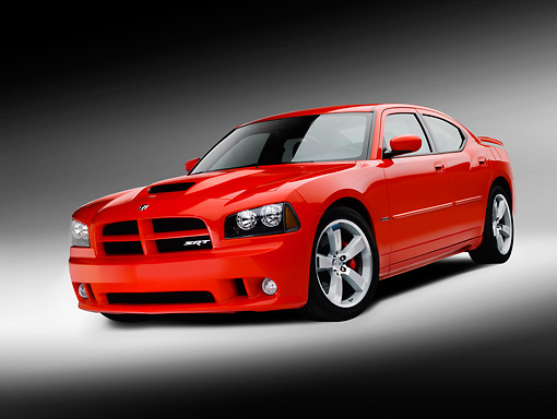 AUT 42 RK0171 01 © Kimball Stock 2007 Dodge Charger SRT8 Hemi Red 3/4 Front View On White Seamless Studio