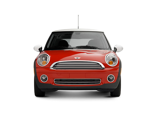 AUT 42 RK0176 01 © Kimball Stock 2007 Mini Cooper Red Head On View On White Seamless Studio