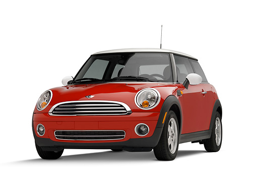 AUT 42 RK0177 01 © Kimball Stock 2007 Mini Cooper Red 3/4 Front View On White Seamless Studio