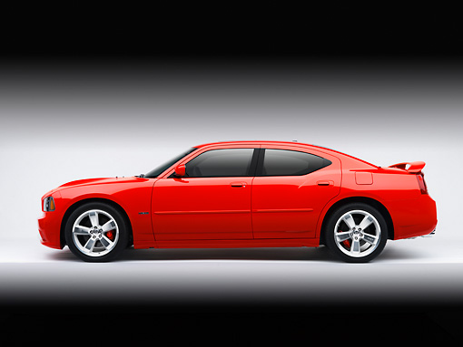 AUT 42 RK0196 01 © Kimball Stock 2007 Dodge Charger SRT8 Hemi Red Profile View On White Seamless Studio