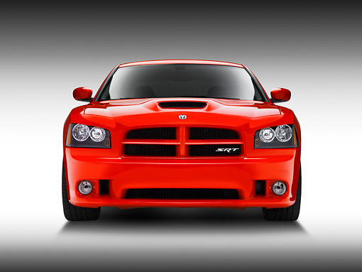 AUT 42 RK0197 01 © Kimball Stock 2007 Dodge Charger SRT8 Hemi Red Head On View On White Seamless Studio