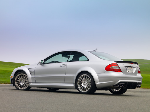 AUT 42 RK0259 01 © Kimball Stock 2007 Mercedes-Benz CLK63 AMG Black Series Silver Coupe Rear 3/4 View On Pavement
