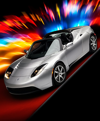 AUT 43 RK0237 01 © Kimball Stock 2008 Tesla Roadster Silver 3/4 Front View Studio