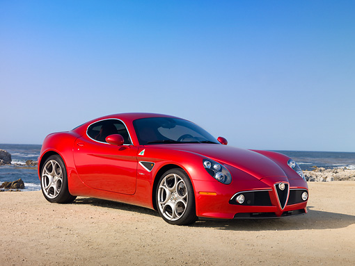 AUT 43 RK0403 01 © Kimball Stock 2008 Alfa Romeo 8C Competizione Red 3/4 Front View On Beach