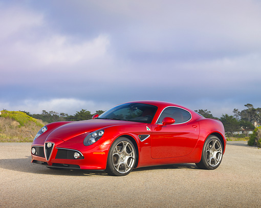 AUT 43 RK0408 01 © Kimball Stock 2008 Alfa Romeo 8C Competizione Red 3/4 Front View On Pavement