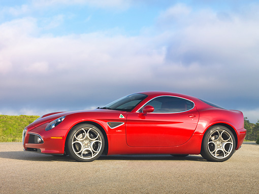 AUT 43 RK0410 01 © Kimball Stock 2008 Alfa Romeo 8C Competizione Red Profile View On Pavement
