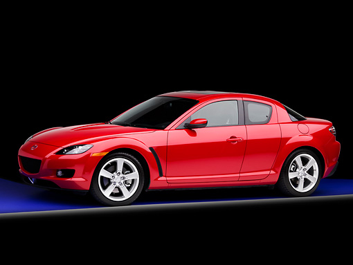 AUT 43 BK0003 01 © Kimball Stock 2008 Mazda RX-8 Red 3/4 Front View Studio
