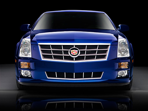 AUT 43 BK0009 01 © Kimball Stock 2008 Cadillac STS Blue Head On View Studio