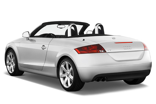 AUT 43 IZ0005 01 © Kimball Stock 2010 Audi TT Roadster Silver 3/4 Rear View Studio