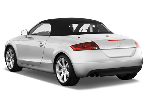 AUT 43 IZ0006 01 © Kimball Stock 2010 Audi TT Roadster Silver 3/4 Rear View Studio