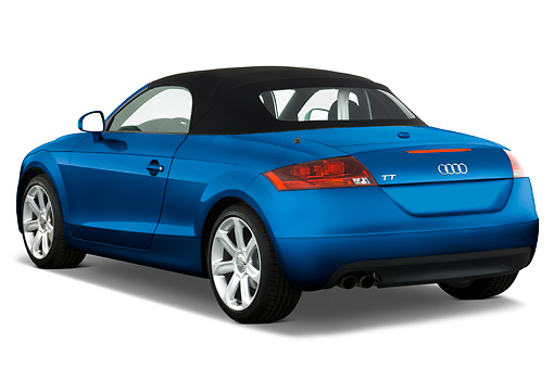 AUT 43 IZ0007 01 © Kimball Stock 2010 Audi TT Roadster Blue 3/4 Rear View Studio