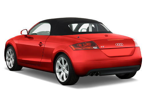 AUT 43 IZ0008 01 © Kimball Stock 2010 Audi TT Roadster Red 3/4 Rear View Studio