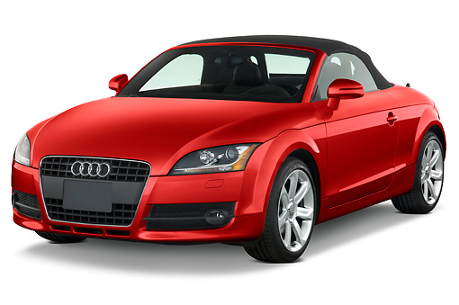 AUT 43 IZ0009 01 © Kimball Stock 2010 Audi TT Roadster Red 3/4 Front View Studio